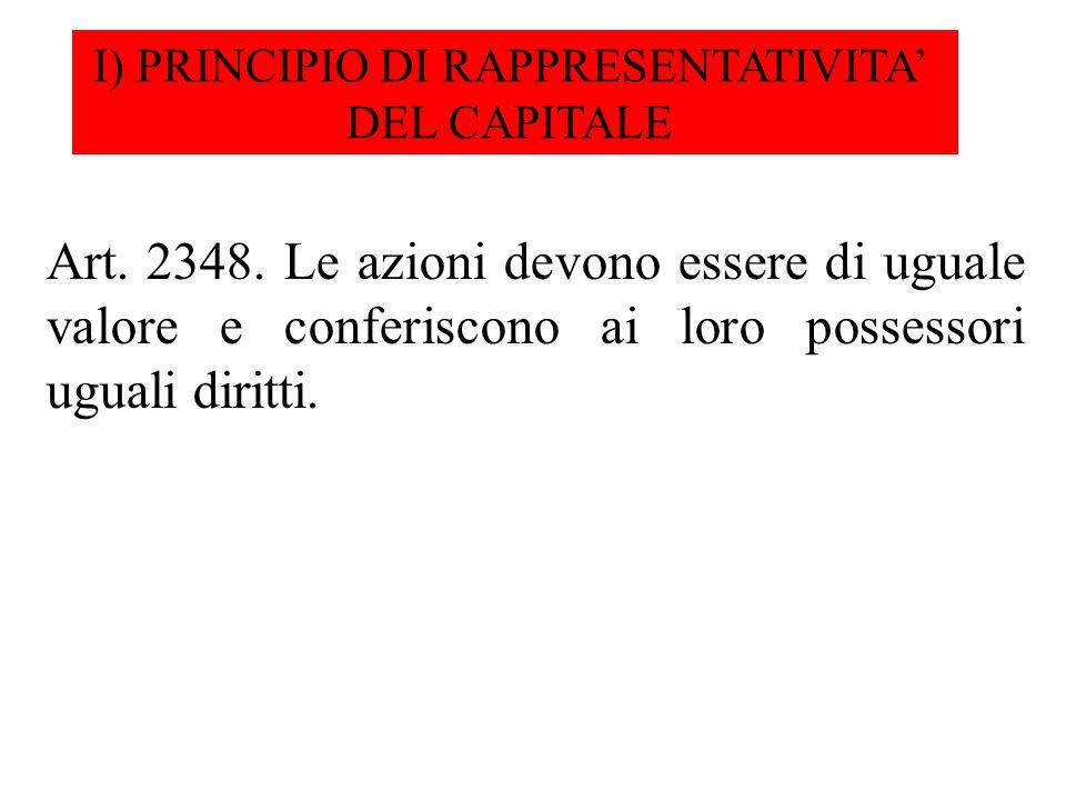I) PRINCIPIO DI RAPPRESENTATIVITA'