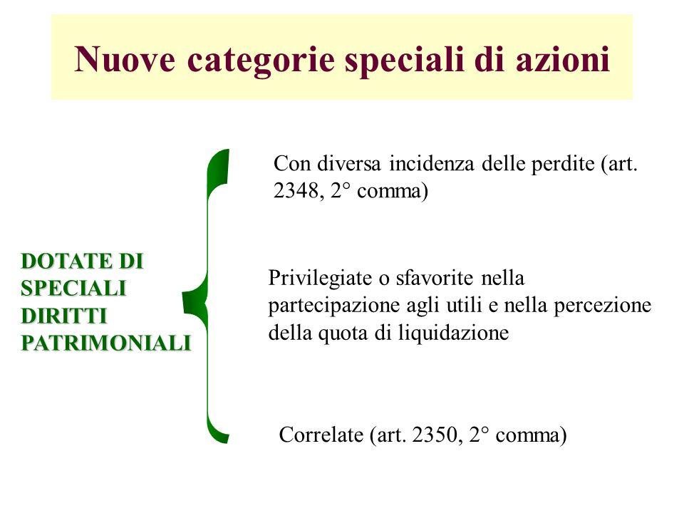Nuove categorie speciali di azioni