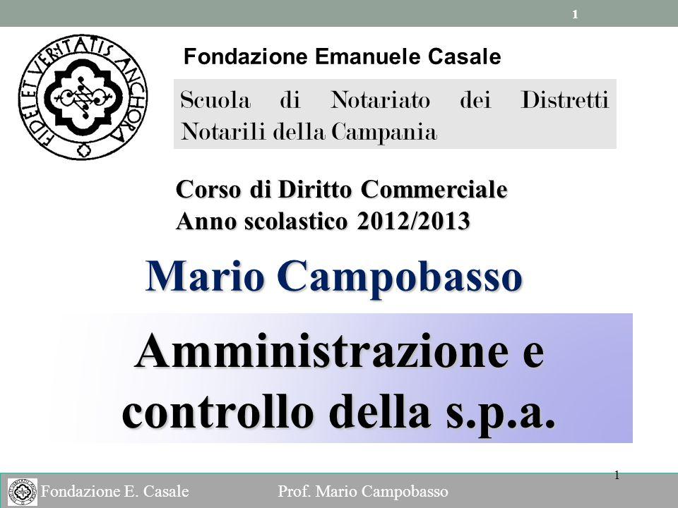 Fondazione Emanuele Casale Amministrazione e controllo della s.p.a.