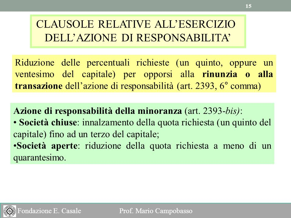 CLAUSOLE RELATIVE ALL'ESERCIZIO DELL'AZIONE DI RESPONSABILITA'