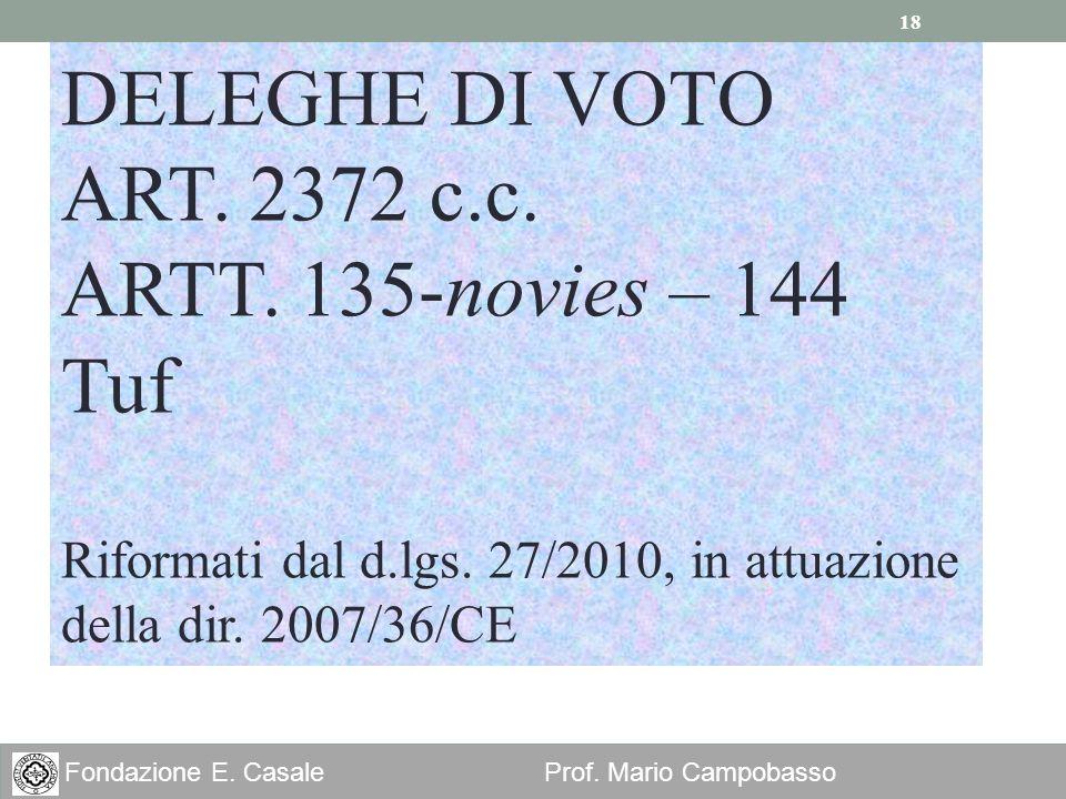 DELEGHE DI VOTO ART. 2372 c.c. ARTT. 135-novies – 144 Tuf