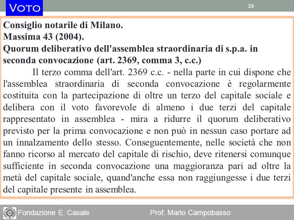 Voto Consiglio notarile di Milano. Massima 43 (2004).