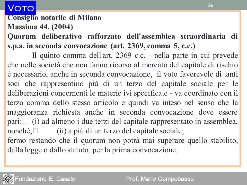 Voto Consiglio notarile di Milano Massima 44. (2004)