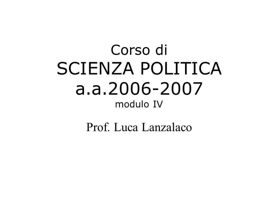 Corso di SCIENZA POLITICA a.a.2006-2007 modulo IV