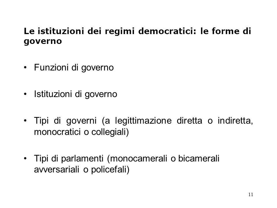 Le istituzioni dei regimi democratici: le forme di governo