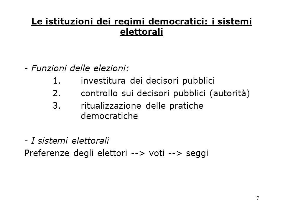 Le istituzioni dei regimi democratici: i sistemi elettorali