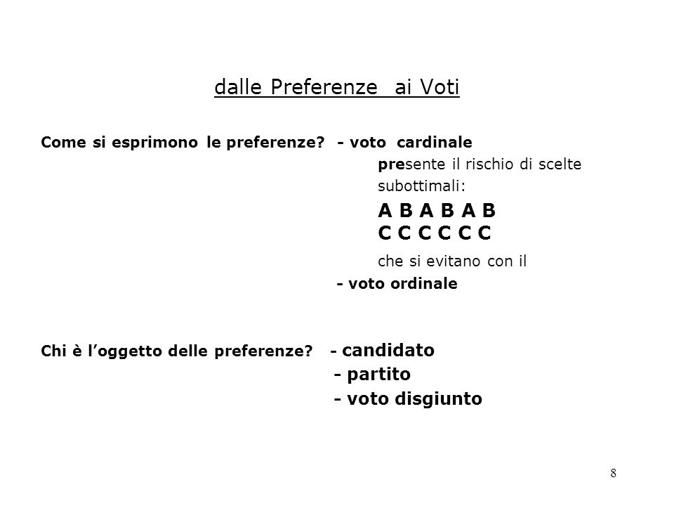 dalle Preferenze ai Voti