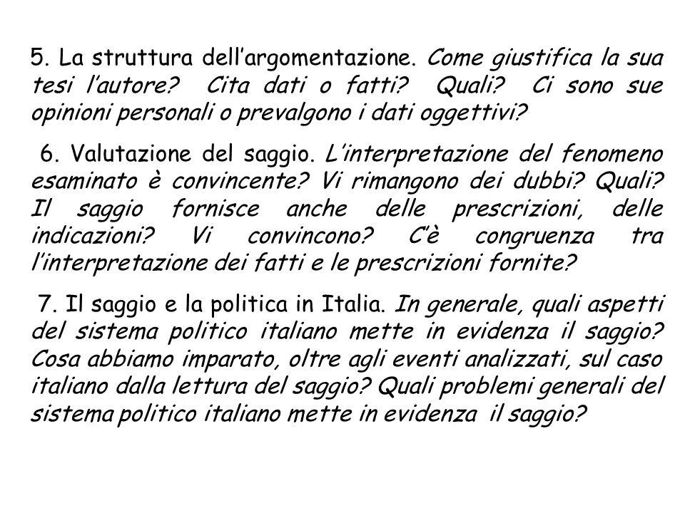 5. La struttura dell'argomentazione