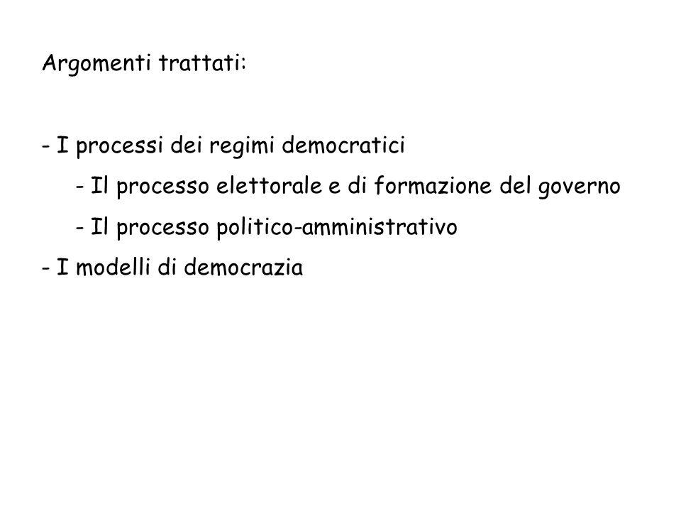 Argomenti trattati: I processi dei regimi democratici. Il processo elettorale e di formazione del governo.