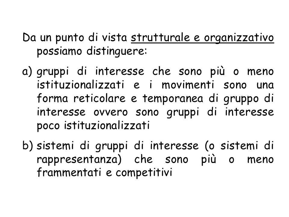 Da un punto di vista strutturale e organizzativo possiamo distinguere: