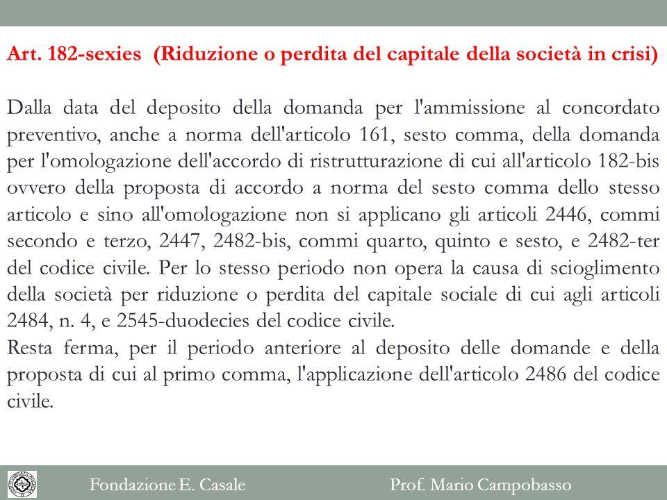 Art. 182-sexies (Riduzione o perdita del capitale della società in crisi)