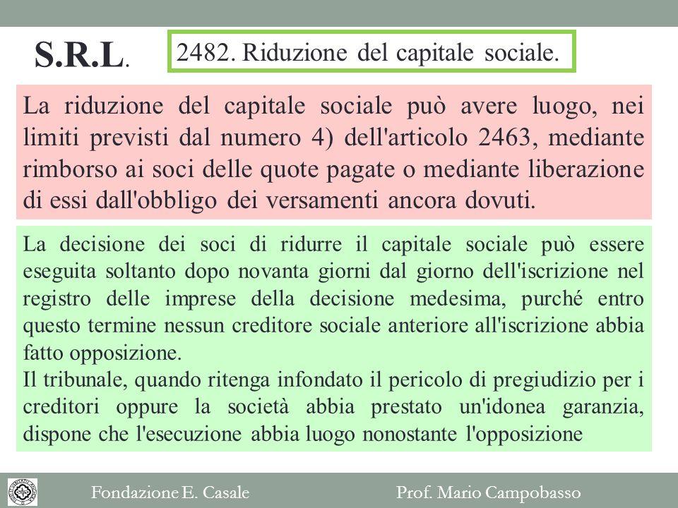 S.R.L. 2482. Riduzione del capitale sociale.