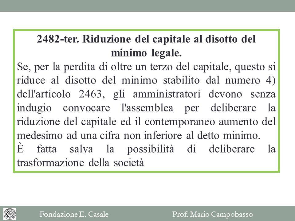 2482-ter. Riduzione del capitale al disotto del minimo legale.