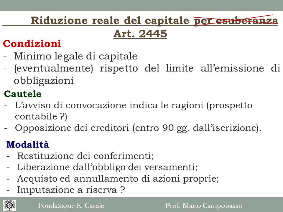 Riduzione reale del capitale per esuberanza