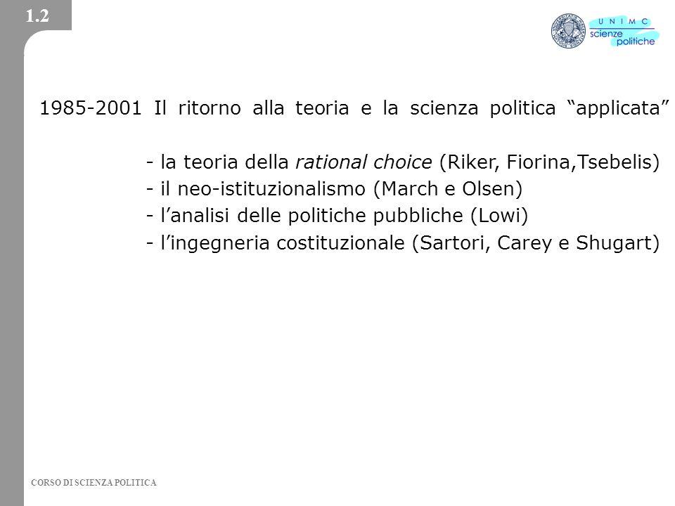 1985-2001 Il ritorno alla teoria e la scienza politica applicata