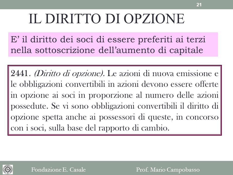 IL DIRITTO DI OPZIONE E' il diritto dei soci di essere preferiti ai terzi nella sottoscrizione dell'aumento di capitale.