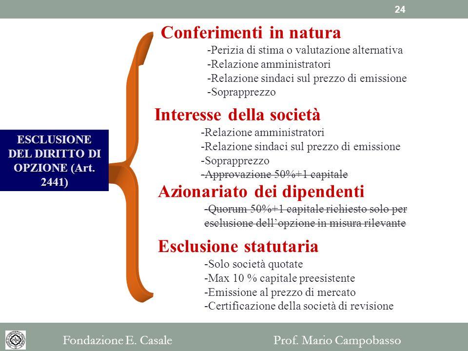 ESCLUSIONE DEL DIRITTO DI OPZIONE (Art. 2441)