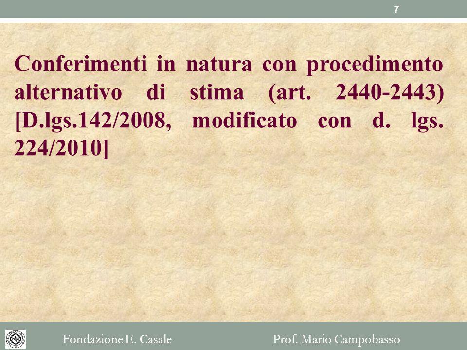 Conferimenti in natura con procedimento alternativo di stima (art