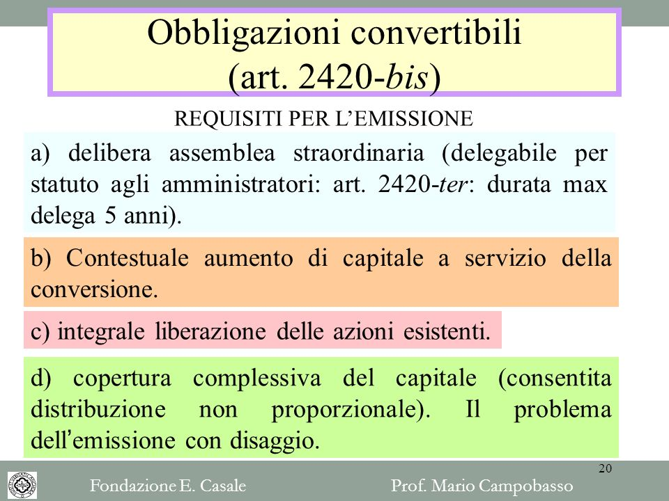 Obbligazioni convertibili (art. 2420-bis)