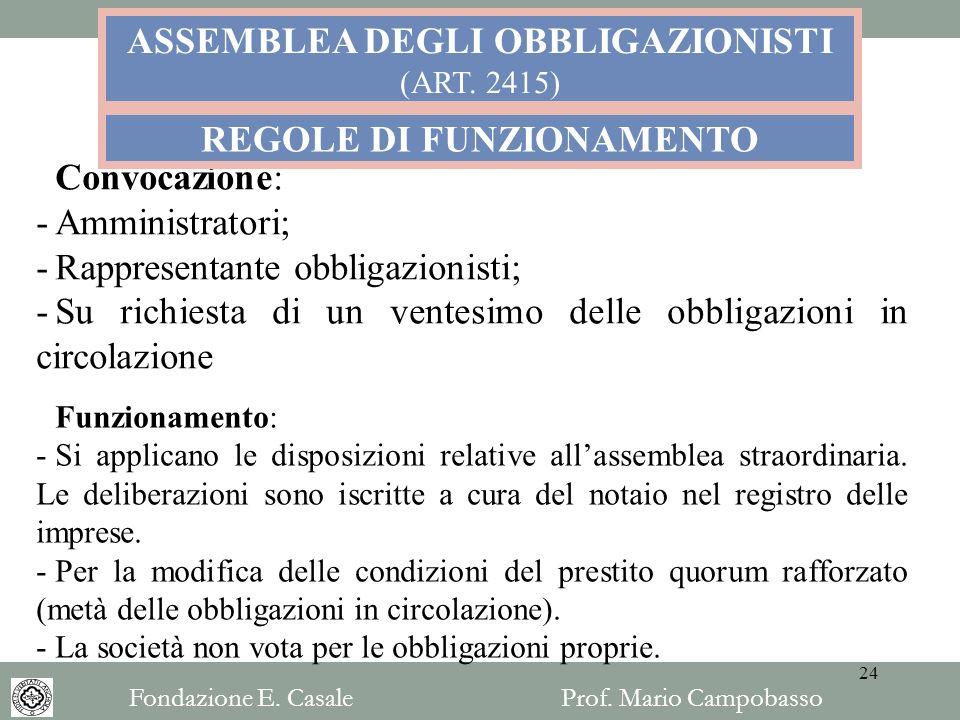 ASSEMBLEA DEGLI OBBLIGAZIONISTI REGOLE DI FUNZIONAMENTO