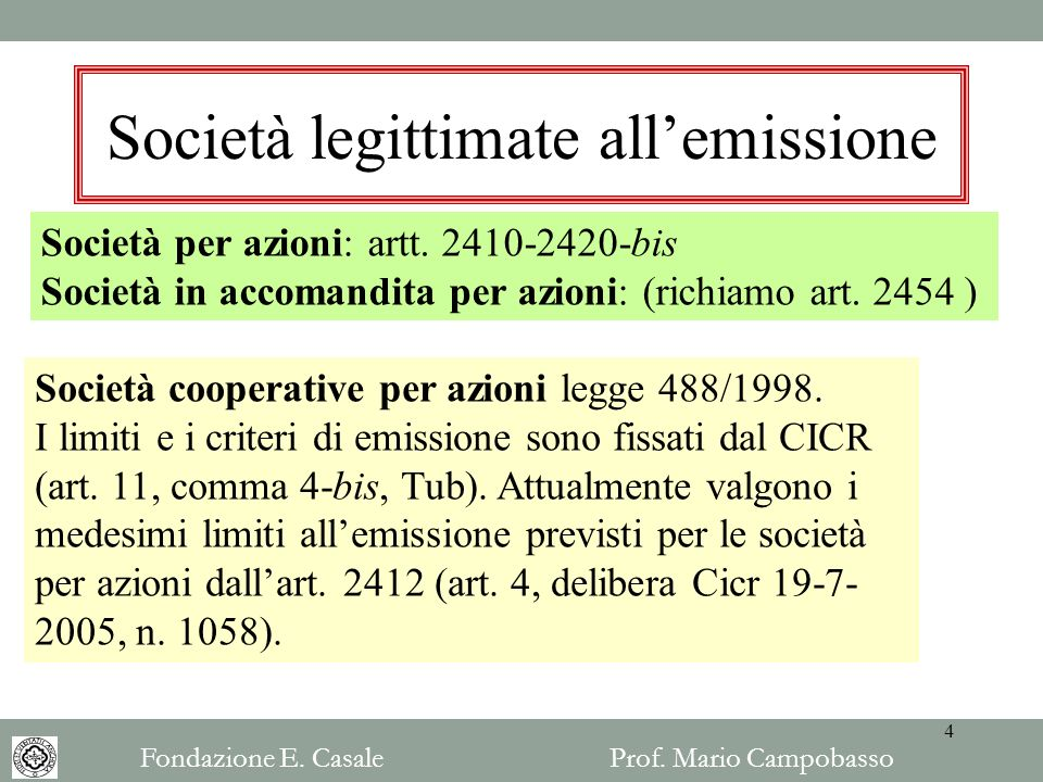 Società legittimate all'emissione