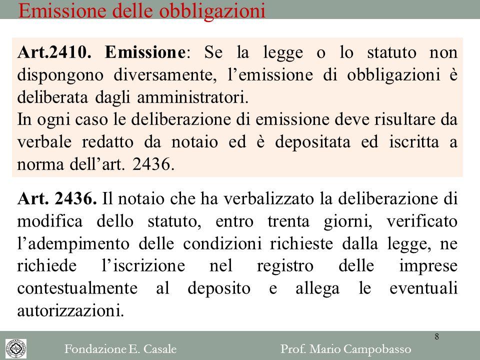 Emissione delle obbligazioni