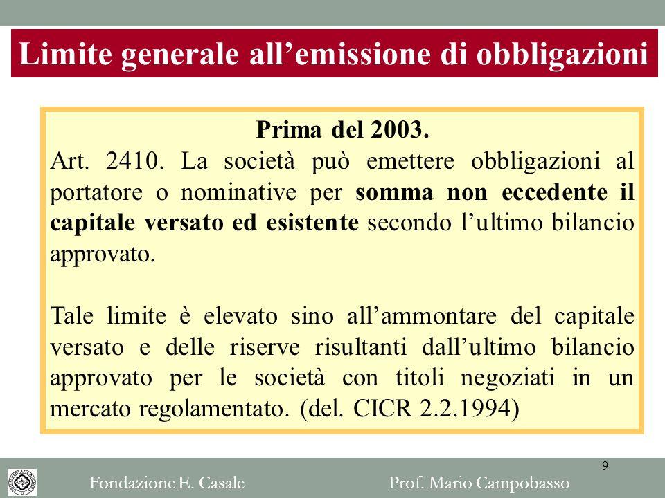 Limite generale all'emissione di obbligazioni
