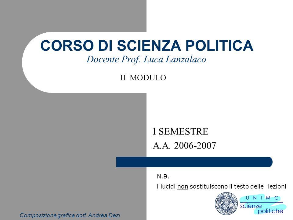 CORSO DI SCIENZA POLITICA Docente Prof. Luca Lanzalaco