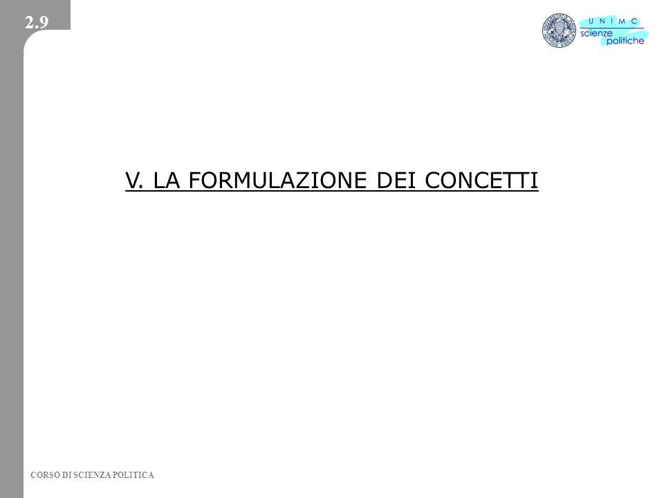 V. LA FORMULAZIONE DEI CONCETTI