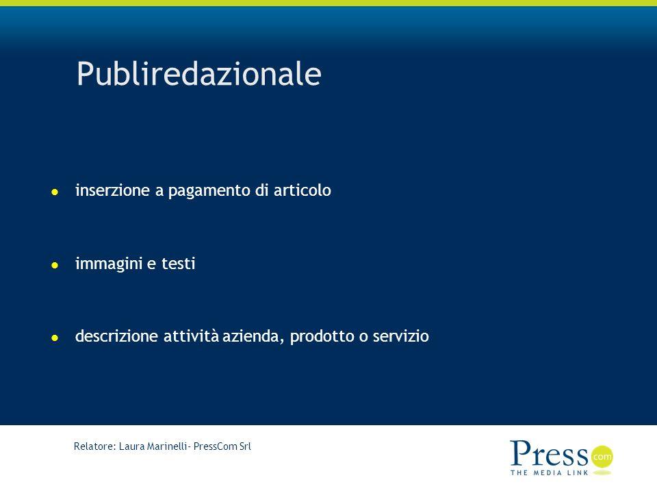 Publiredazionale inserzione a pagamento di articolo immagini e testi