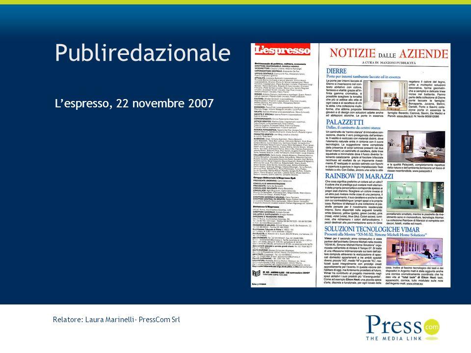 Publiredazionale L'espresso, 22 novembre 2007