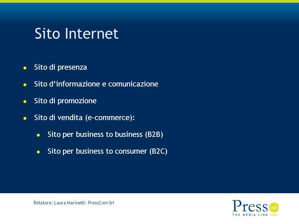 Sito Internet Sito di presenza Sito d'informazione e comunicazione