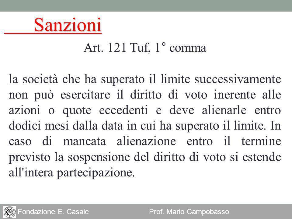 Sanzioni Art. 121 Tuf, 1° comma