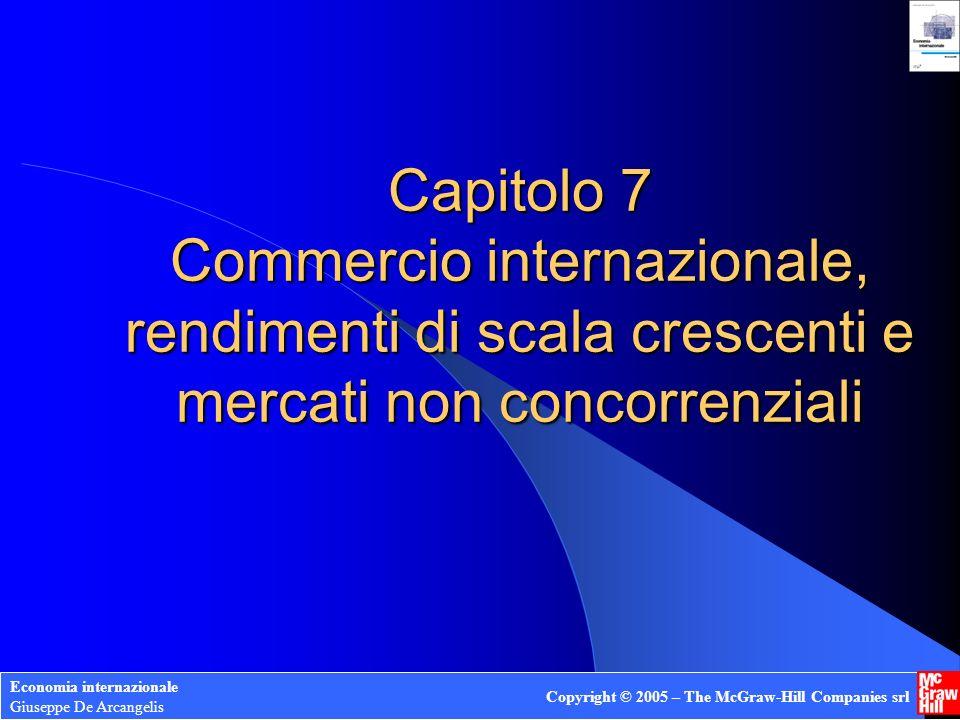 Capitolo 7 Commercio internazionale, rendimenti di scala crescenti e mercati non concorrenziali