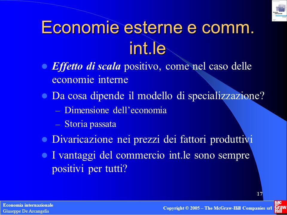 Economie esterne e comm. int.le