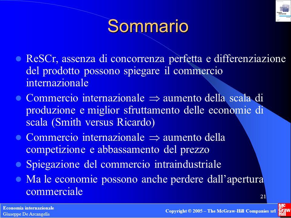 Sommario ReSCr, assenza di concorrenza perfetta e differenziazione del prodotto possono spiegare il commercio internazionale.