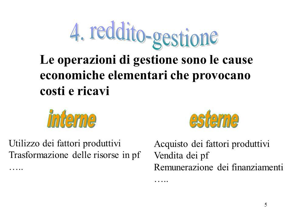 4. reddito-gestione Le operazioni di gestione sono le cause