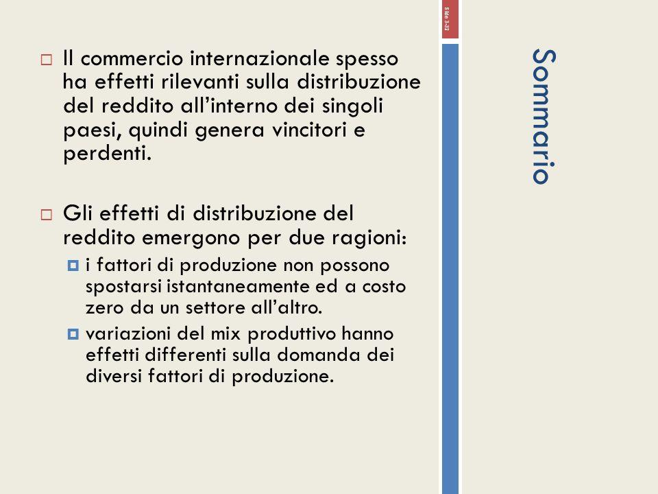 Il commercio internazionale spesso ha effetti rilevanti sulla distribuzione del reddito all'interno dei singoli paesi, quindi genera vincitori e perdenti.