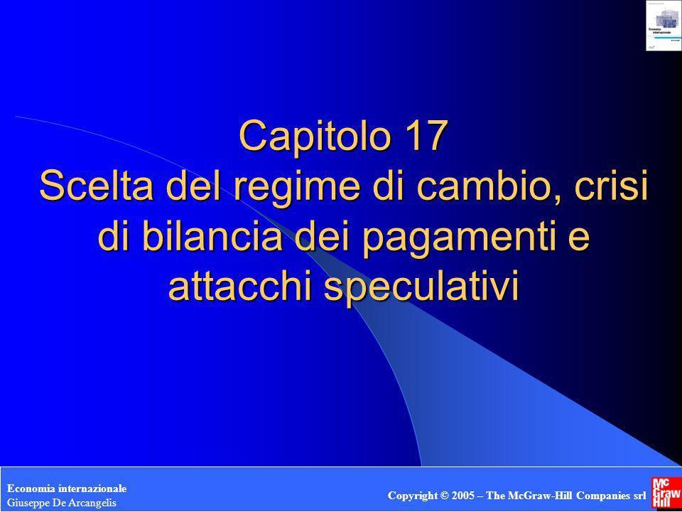 Capitolo 17 Scelta del regime di cambio, crisi di bilancia dei pagamenti e attacchi speculativi