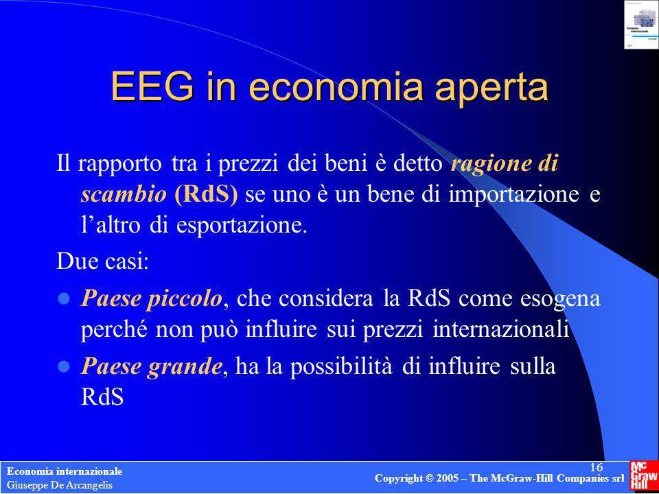 EEG in economia aperta Il rapporto tra i prezzi dei beni è detto ragione di scambio (RdS) se uno è un bene di importazione e l'altro di esportazione.
