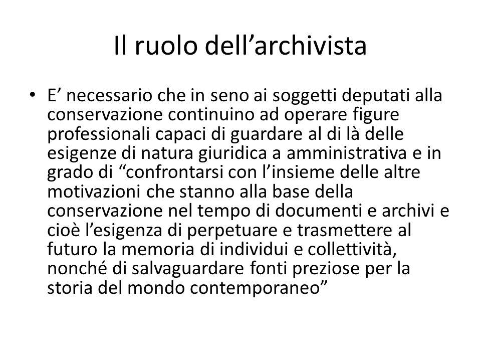 Il ruolo dell'archivista