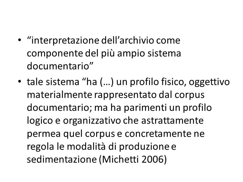 interpretazione dell'archivio come componente del più ampio sistema documentario