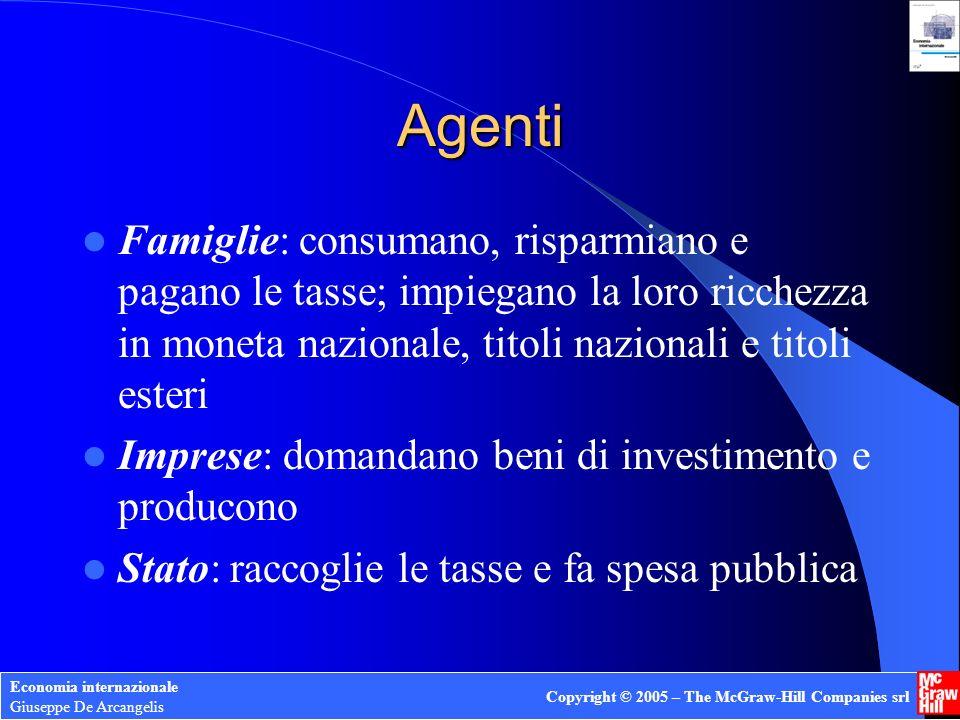 Agenti Famiglie: consumano, risparmiano e pagano le tasse; impiegano la loro ricchezza in moneta nazionale, titoli nazionali e titoli esteri.