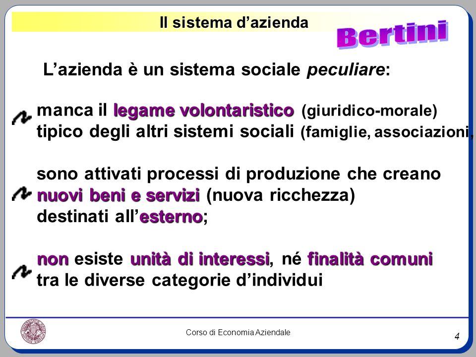 Bertini L'azienda è un sistema sociale peculiare: