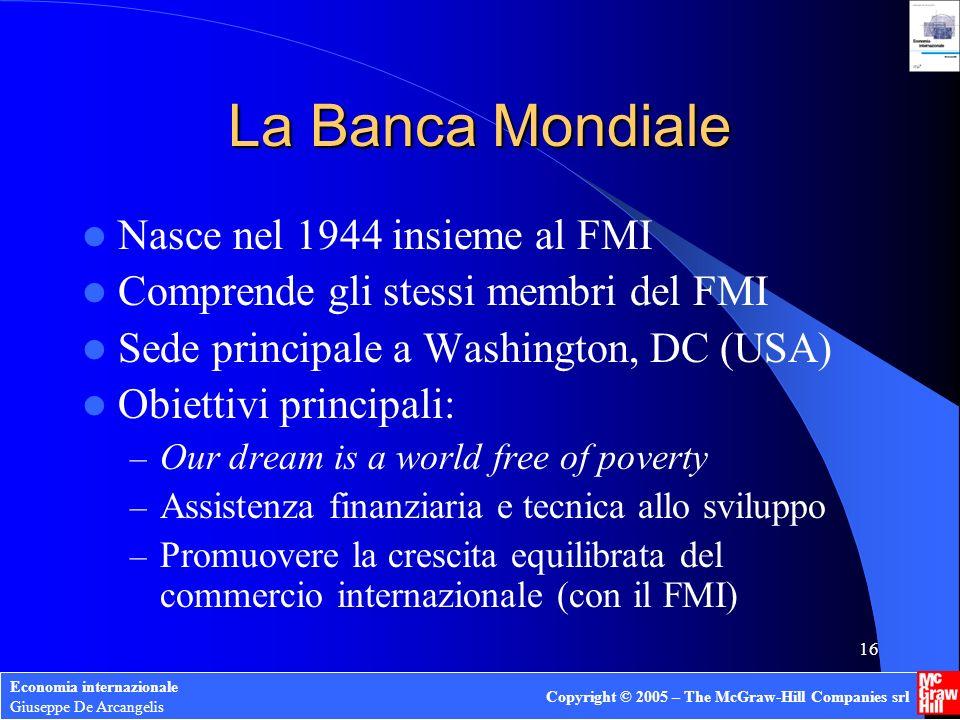 La Banca Mondiale Nasce nel 1944 insieme al FMI