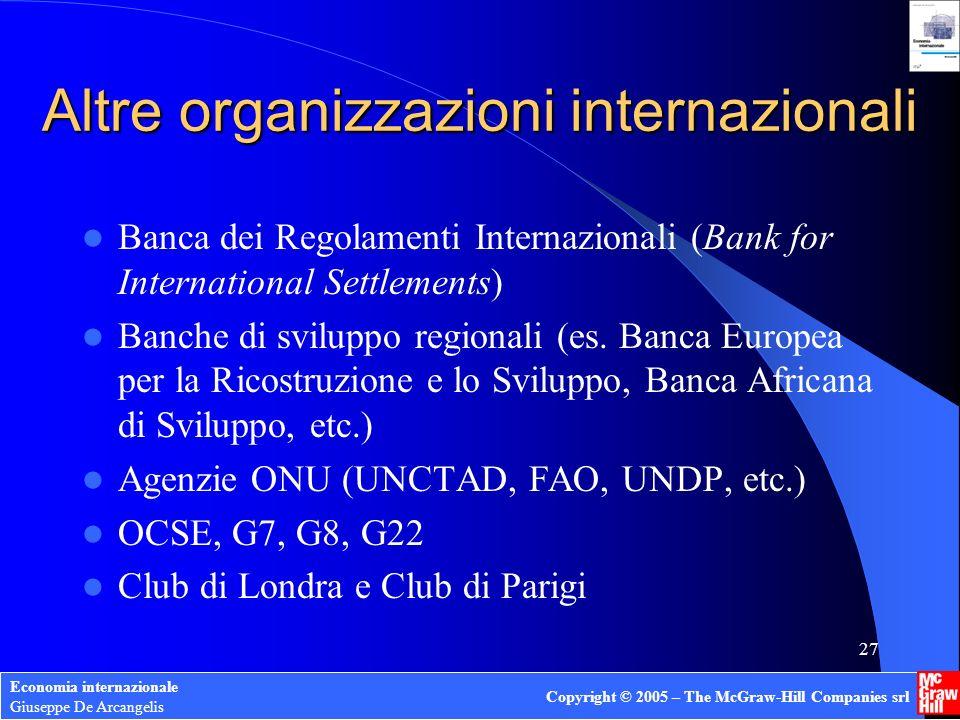 Altre organizzazioni internazionali