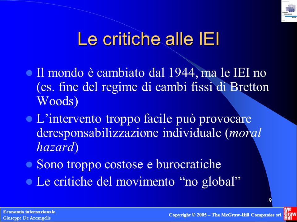 Le critiche alle IEI Il mondo è cambiato dal 1944, ma le IEI no (es. fine del regime di cambi fissi di Bretton Woods)