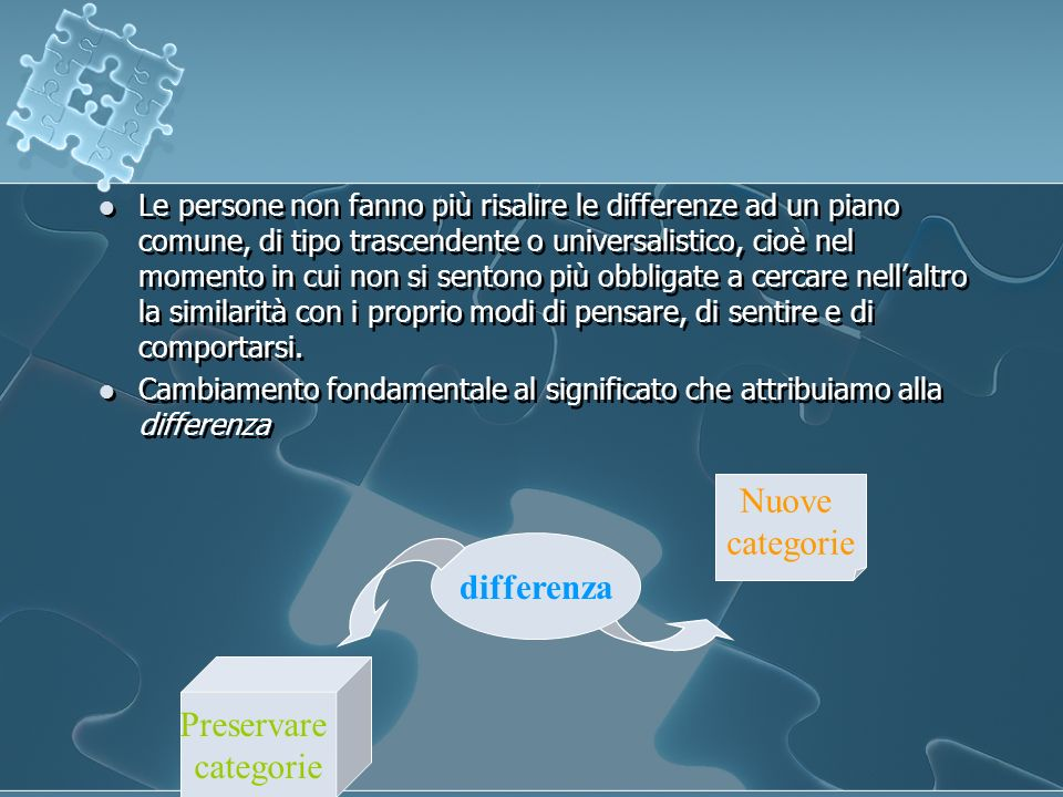Nuove categorie differenza Preservare categorie
