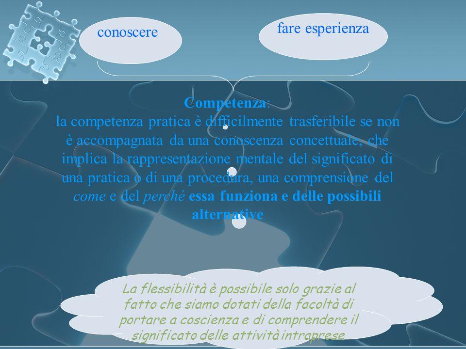 fare esperienza conoscere Competenza: