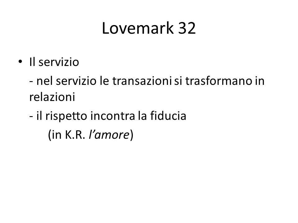 Lovemark 32 Il servizio. - nel servizio le transazioni si trasformano in relazioni. - il rispetto incontra la fiducia.